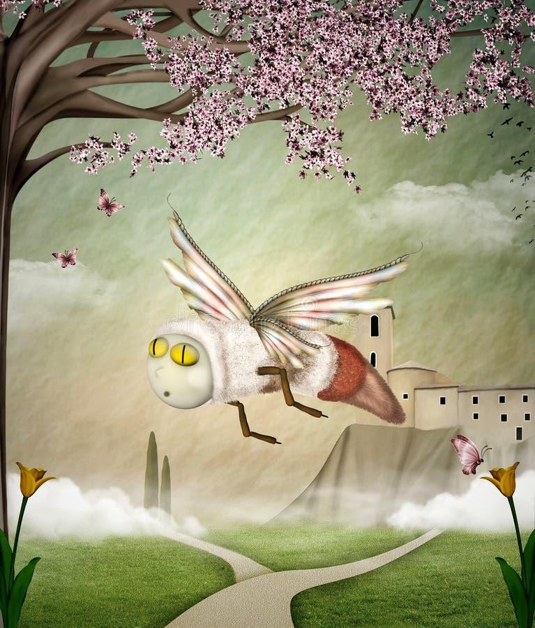De bij van de fantasie in een de lentelandschap stock illustratie