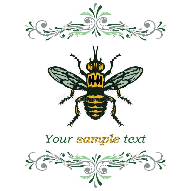 De bij van de honing. vector illustratie