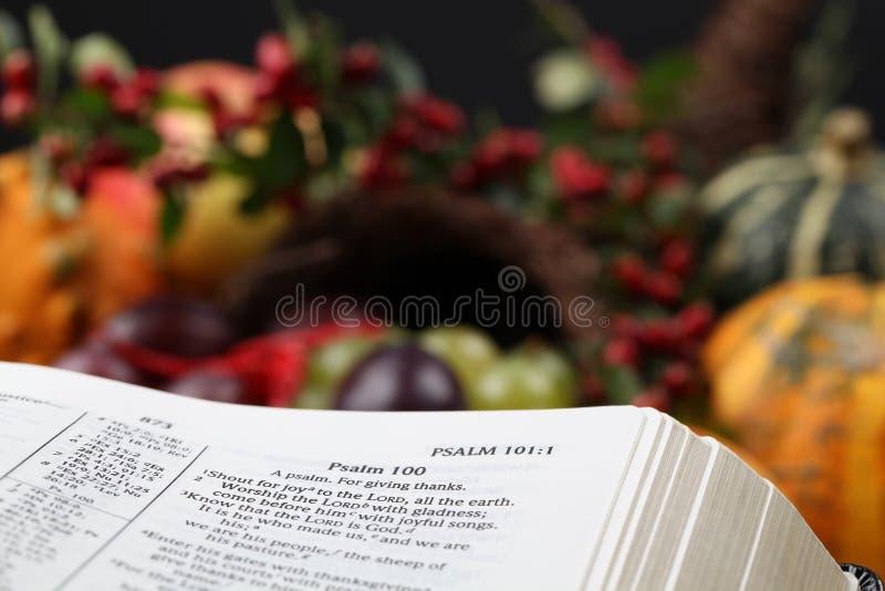 De Bijbel en de hoorn des overvloeds van de dankzegging stock afbeeldingen