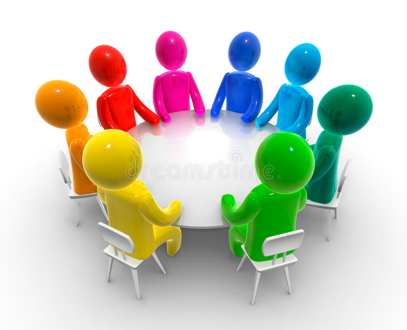 De bijeenkomst van de bespreking vector illustratie