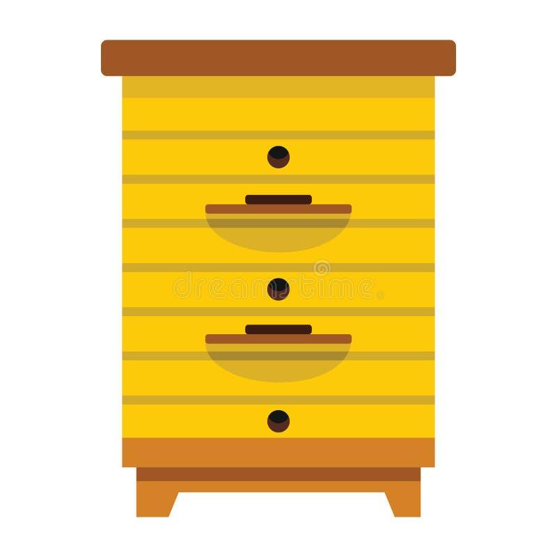 De bijenkorf van de bijenstalhoning in vlakke stijl vector illustratie