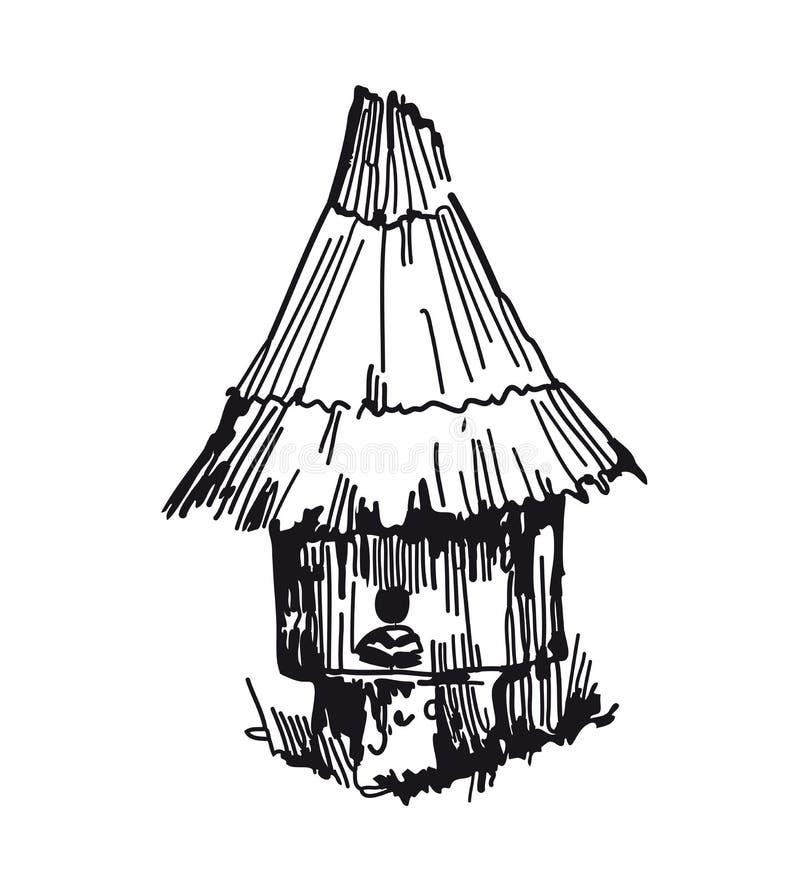 De bijenkorf van het honingbijhuis De vectorschetsen overhandigen getrokken royalty-vrije illustratie
