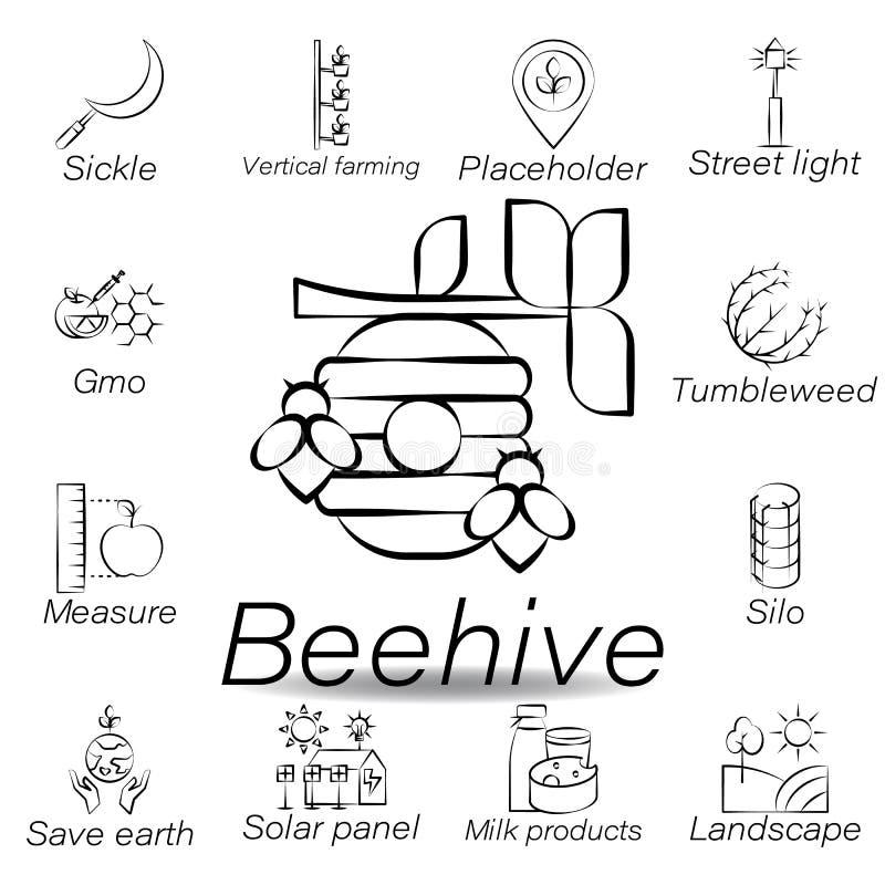 De bijenkorfhand trekt pictogram Element van de landbouw van illustratiepictogrammen De tekens en de symbolen kunnen voor Web, em vector illustratie
