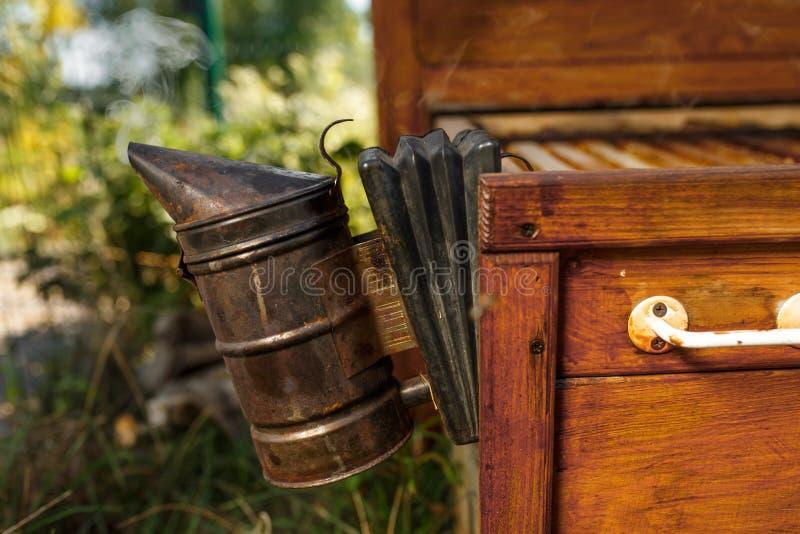 De bijenroker installeerde op houten behive Technologie van beroking van bijen Bedwelmende rook voor veilige honingsproductie royalty-vrije stock foto