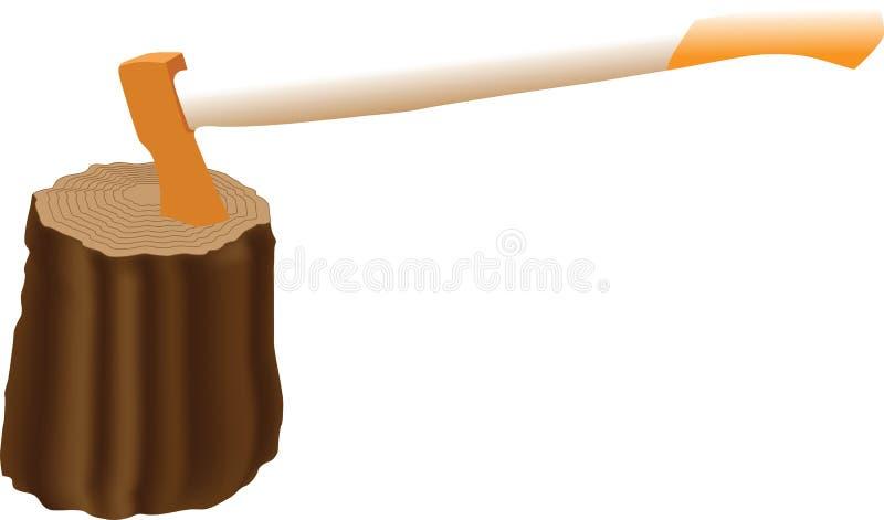 De bijl in een hout wordt geplakt dat stock illustratie
