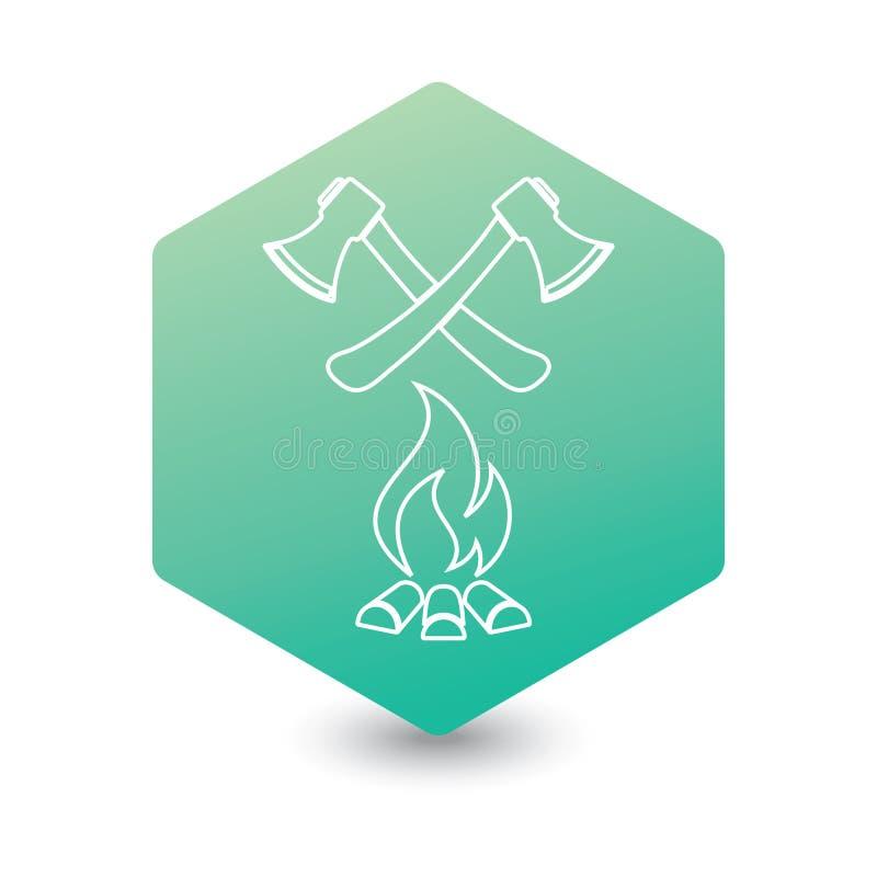 De bijl en het campfire pictogram stock illustratie