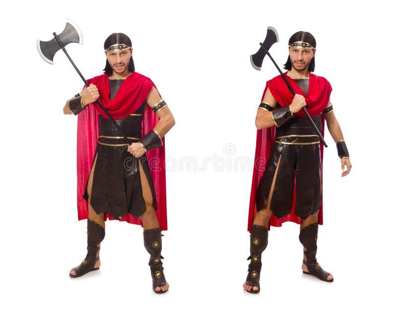 De bijl van de gladiatorholding op wit wordt geïsoleerd dat stock fotografie