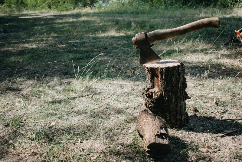 De bijl wordt neergestoken met een blad in de stomp Bijl voor het verwijderen van de wortels van boomstompen royalty-vrije stock afbeeldingen