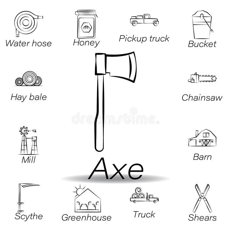 De bijlhand trekt pictogram Element van de landbouw van illustratiepictogrammen De tekens en de symbolen kunnen voor Web, embleem stock illustratie