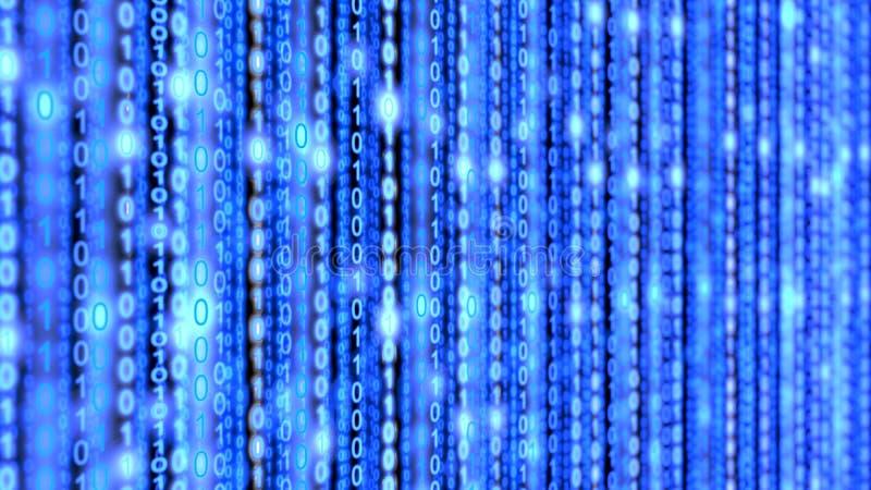 De binaire blauwe achtergrond van de datastreammatrijs stock foto
