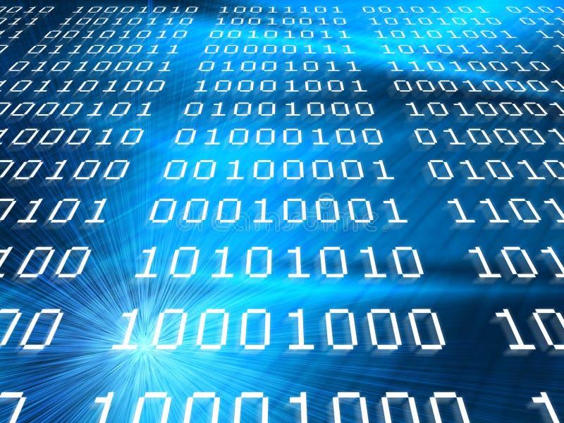 De binaire codes vatten blauwe achtergrond samen vector illustratie