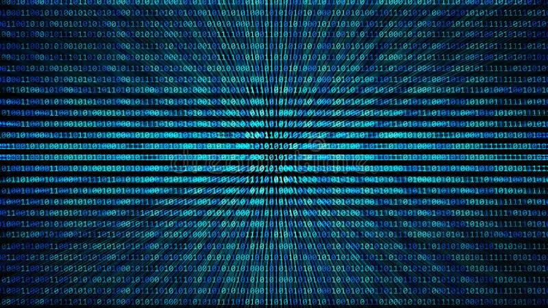 01 of de binaire textuur van het codenummerpatroon op de computer in digi stock illustratie