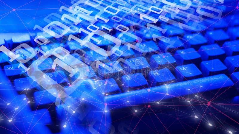 De binaire verbonden codenummers van de Cyberaanval en abstracte vormen stock foto
