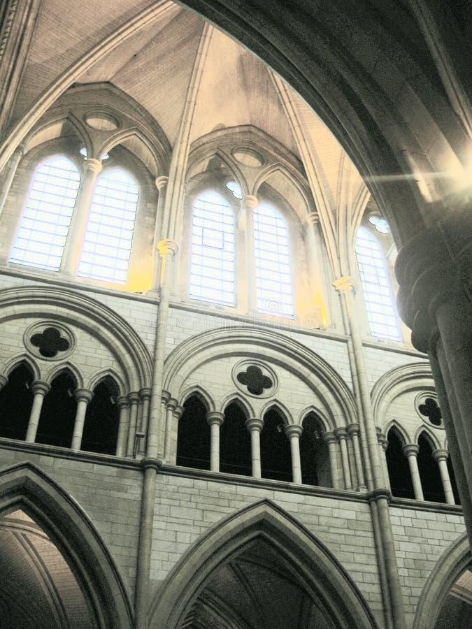 De binnen Overwelfde galerijen van de Kerk stock foto