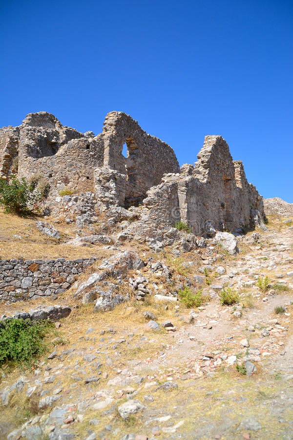 De BinnenKamers van de citadel, Mystras stock afbeeldingen