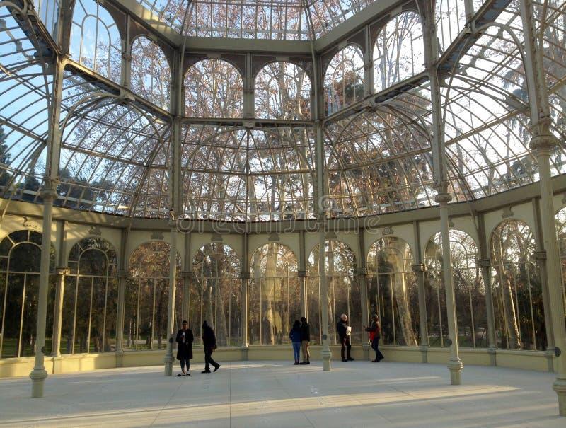 De binnenkant van Palacio DE dat Cristal, in Parque del Buen Retiro wordt gevestigd Madrid, Spanje royalty-vrije stock afbeelding