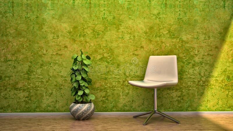 De binnenlandse bloemen van de het huisstoel van het scèneontwerp royalty-vrije stock afbeelding