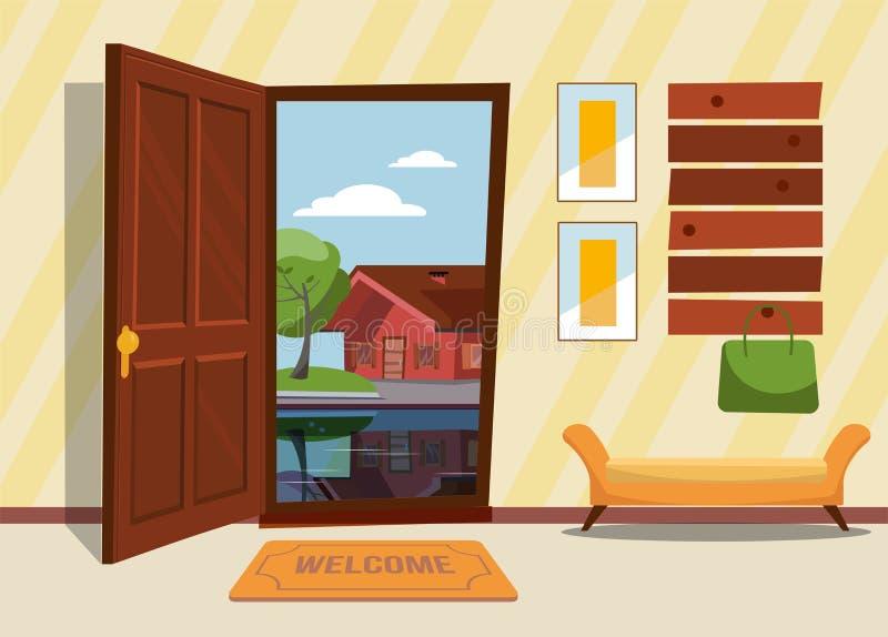 De binnenlandse gang met de open deur, een laagrek met damezak Groen bomen en buitenhuis die in het meer buiten nadenken royalty-vrije illustratie