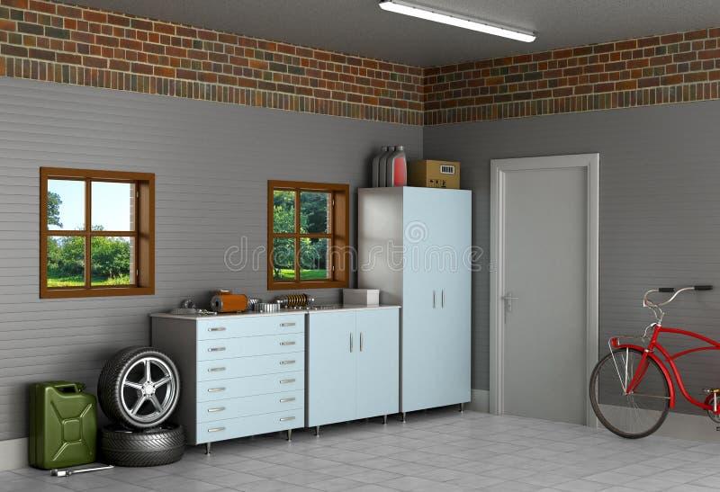 De binnenlandse garage in de voorsteden royalty-vrije illustratie