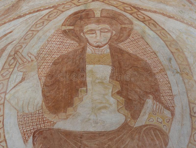 De binnenlandse Kerk Gourdon van Freskochristus stock afbeeldingen