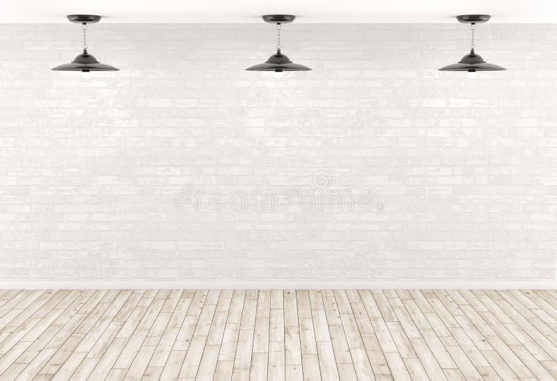 De binnenlandse lampen als achtergrond over de 3d bakstenen muur geven terug royalty-vrije illustratie