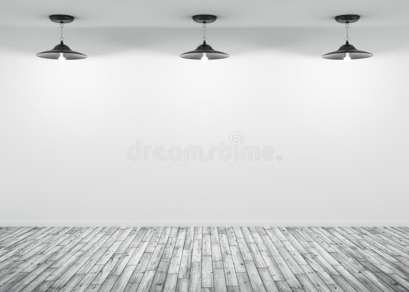 De binnenlandse lampen als achtergrond over de witte 3d muur geven terug stock illustratie