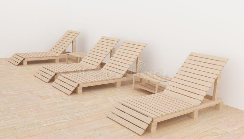 De binnenlandse moderne strandzitkamer in het ruimteontwerp voor ontspanning in 3D geeft beeld terug vector illustratie
