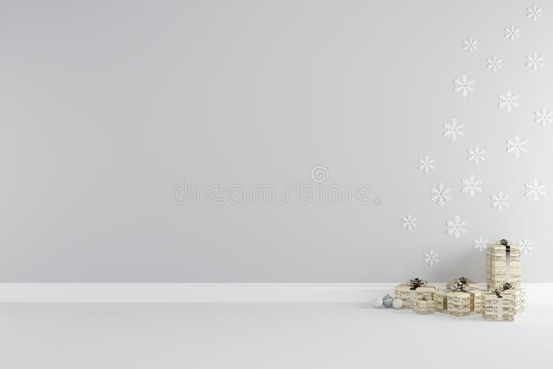 De binnenlandse ruimte van het Kerstmisconcept met gouden giftvakje dat voor exemplaarruimte wordt geplaatst vector illustratie