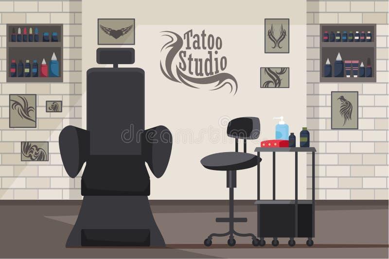De binnenlandse vlakke vectorillustratie van de tatoegeringsstudio vector illustratie