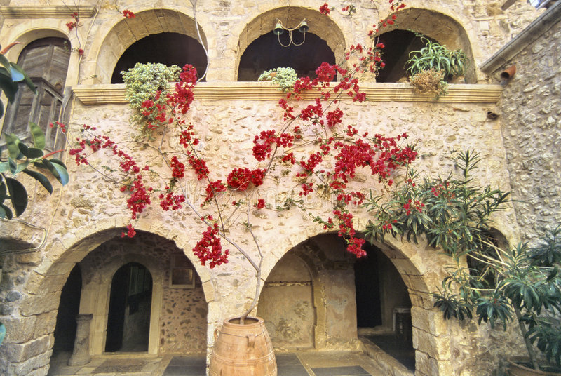 De binnenplaats van Kreta stock afbeeldingen