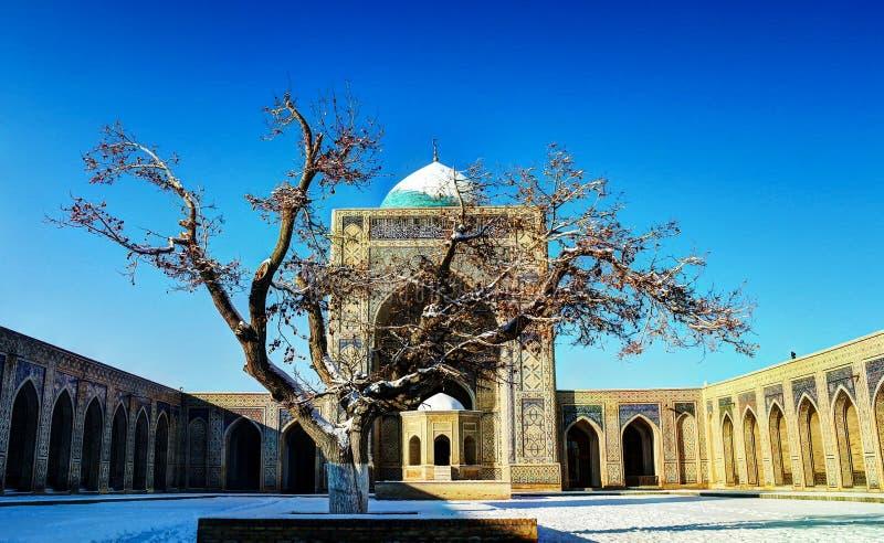 De binnenplaats van moskeekalyan in Boukhara, Oezbekistan stock foto's