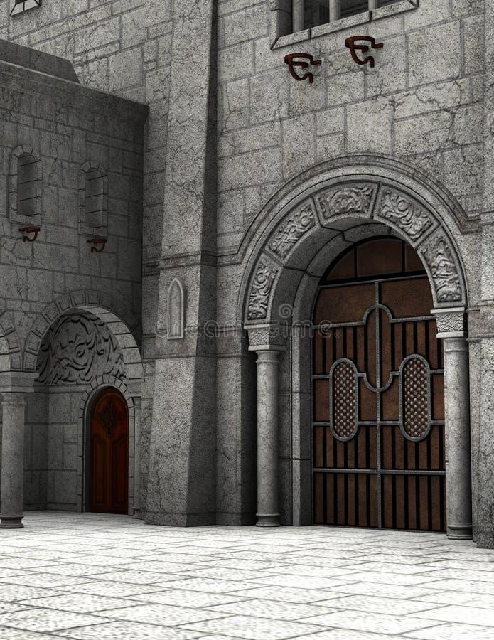 De Binnenplaatsillustratie van het steen Middeleeuwse Kasteel vector illustratie