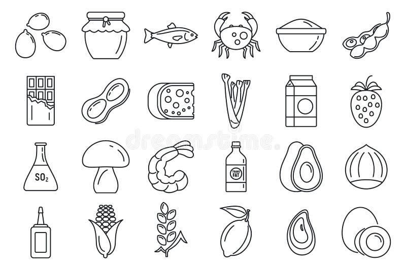 De bio geplaatste pictogrammen van de productallergie, schetsen stijl stock illustratie