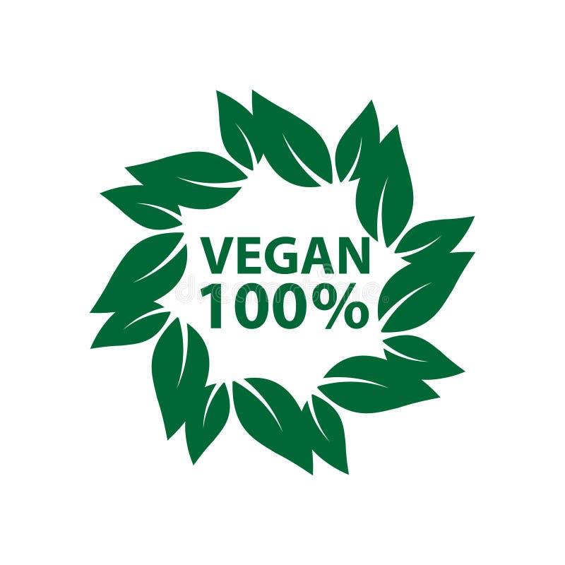 de bio organische ecologie van het veganistpictogram, de markerings groen blad van het emblemenetiket stock illustratie