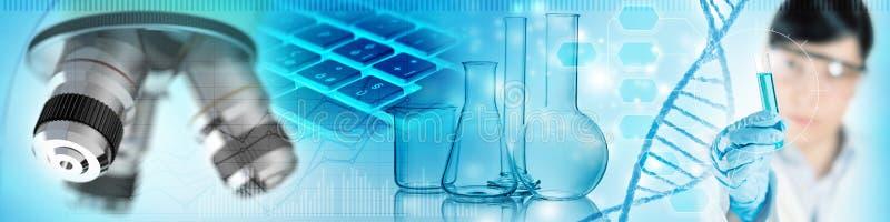 De biochemische achtergrond van het onderzoekconcept vector illustratie