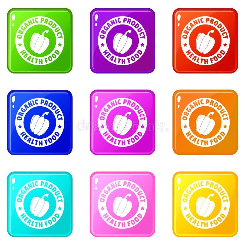 De biologisch productpictogrammen plaatsen 9 kleureninzameling vector illustratie