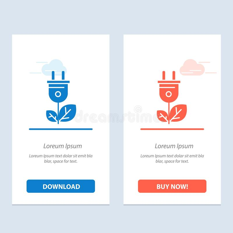 De biomassa, de Energie, de Stop, de Machts Blauwe en Rode Download en kopen nu de Kaartmalplaatje van Webwidget vector illustratie