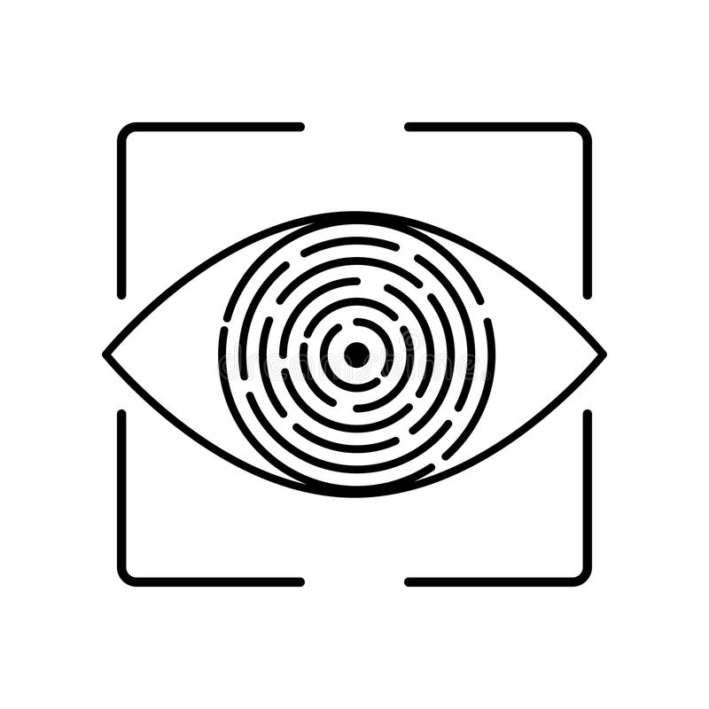 De biometrische identificatie van de iriserkenning stock illustratie