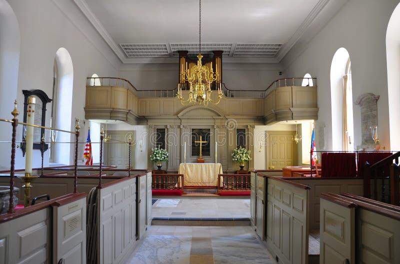 De Bisschoppelijke Kerk van de Parochie van Bruton, Williamsburg stock afbeeldingen