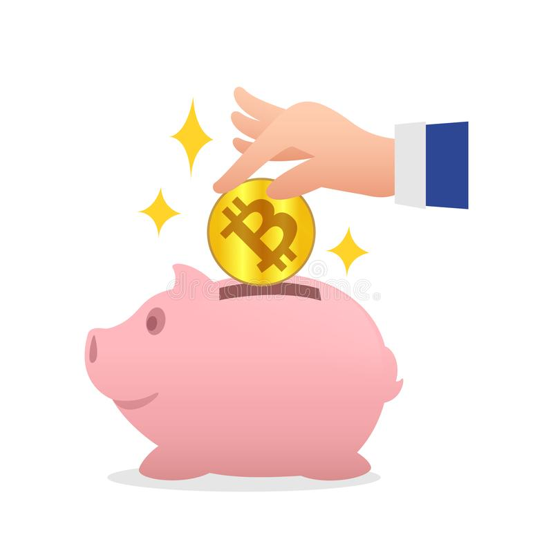 Or de bitcoin de pièce de monnaie de participation de tirelire et de main, concept numérique économisant d'or de bitcoin de crypt illustration libre de droits