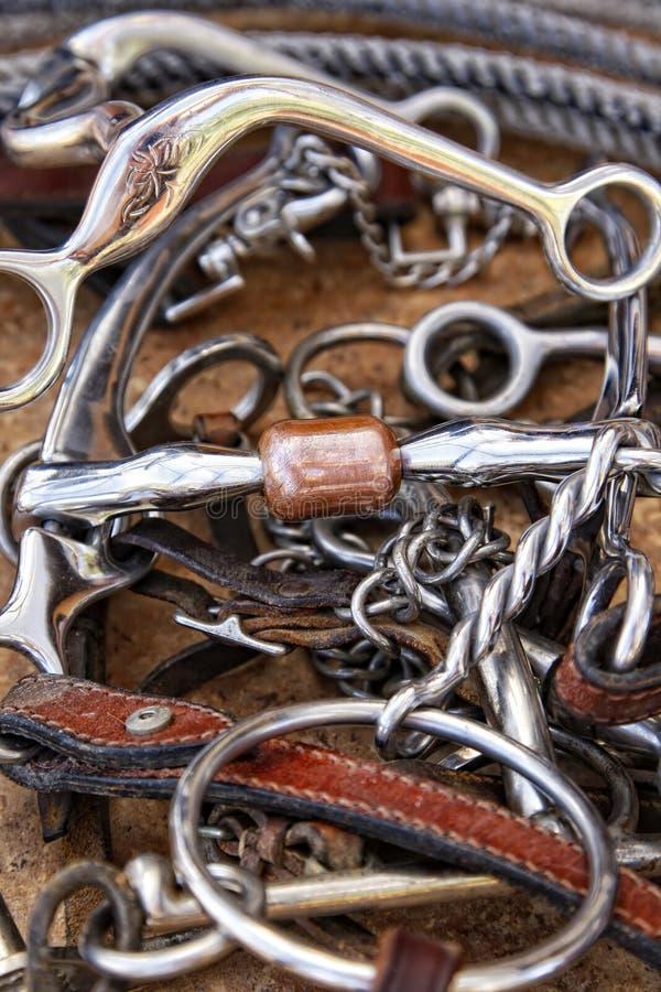 De Bits van het paard, het Leer van de Kopspijker & Kabel royalty-vrije stock foto