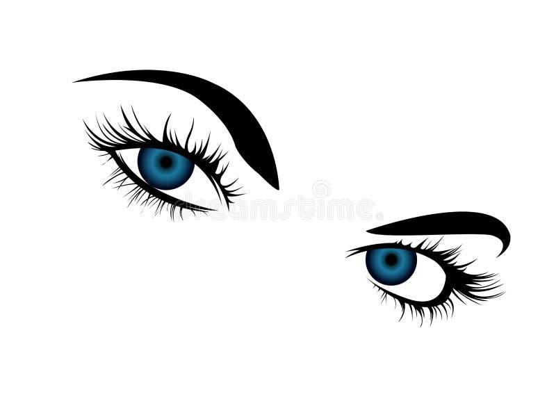 De blåa ögonen för kvinna` s royaltyfri illustrationer