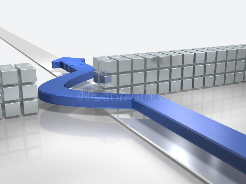 De blåa pilframflyttningarna som undviker hinder stock illustrationer