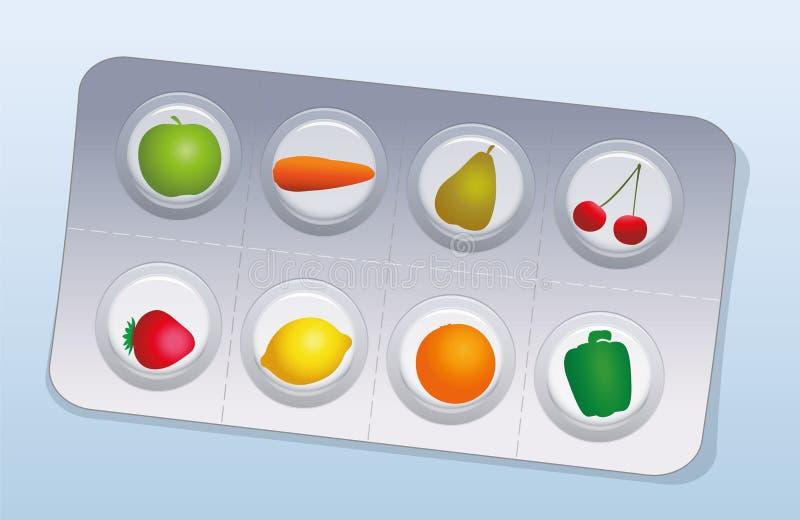 De Blaarvruchten van vitaminepillen Groenten stock illustratie