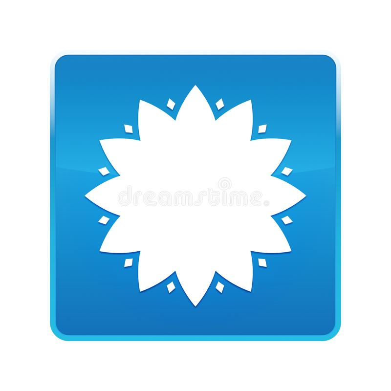 De blad glanzende blauwe vierkante knoop van het bloempictogram vector illustratie