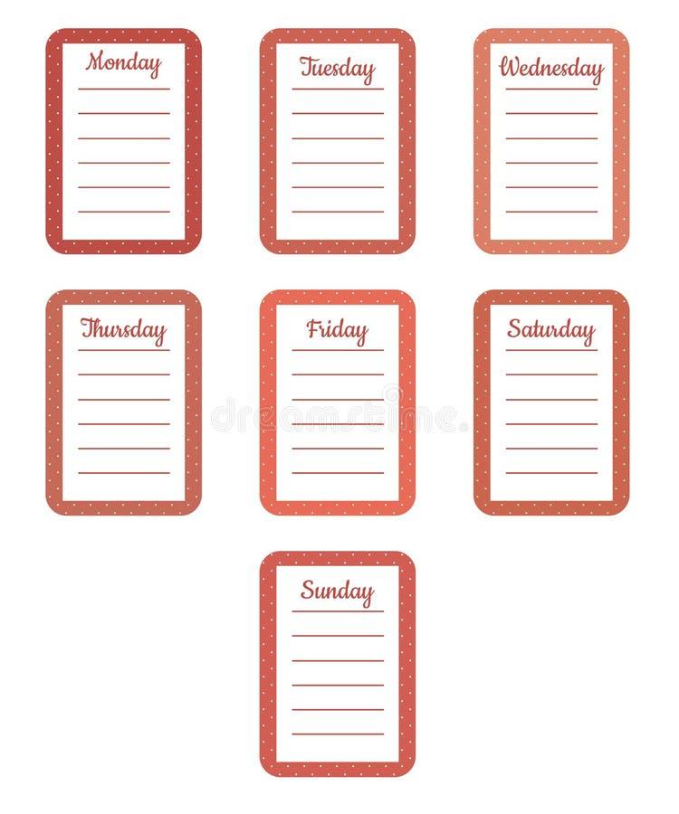 De bladen van de ontwerper voor wekelijkse planning in zoete kleine witte stippen met de namen van de dagen van de week royalty-vrije illustratie