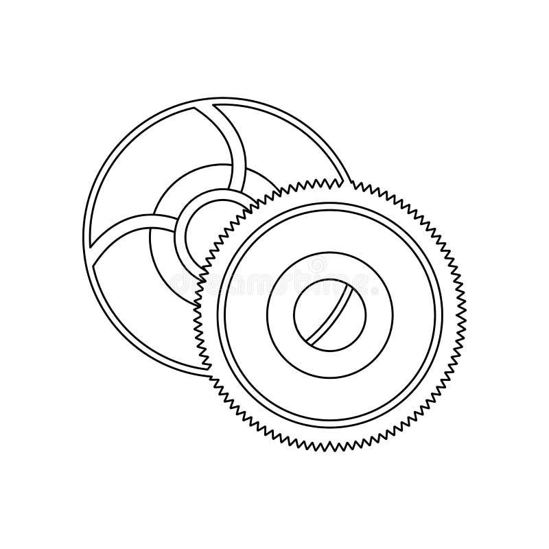 de bladenpictogram van de kleurenzaag Element van bouwhulpmiddelen voor mobiel concept en webtoepassingenpictogram Overzicht, dun vector illustratie