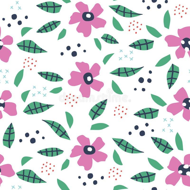 De bladeren en de bloemen overhandigen getrokken naadloos patroon royalty-vrije illustratie