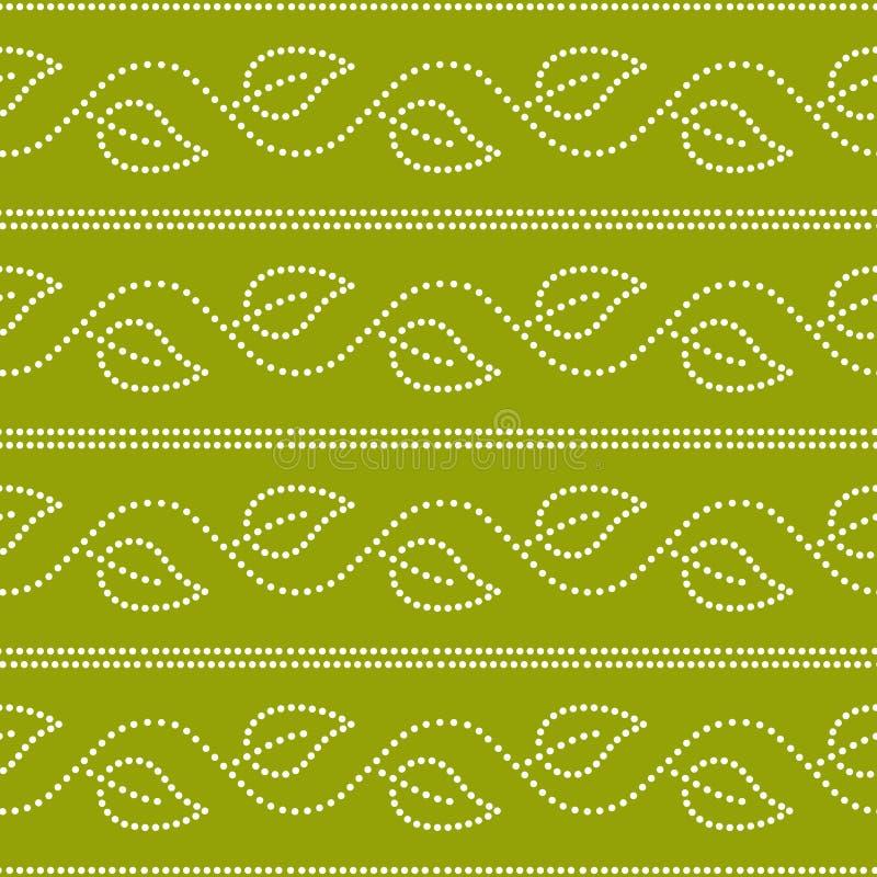 De bladeren en de strepen geometrisch naadloos patroon van de Dotedklimop in groen en wit, vector royalty-vrije illustratie
