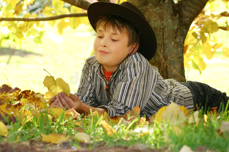De bladeren van de de holdingsherfst van het kind royalty-vrije stock afbeelding